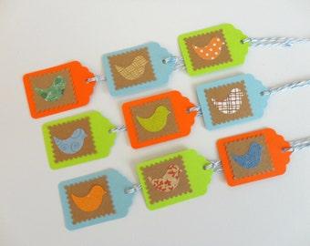 Retro Bird Gift Tags Set of 9