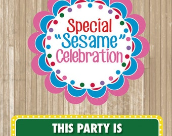 Sesame Street PRINTABLE 5 pc Party Sign with Dots // Special Sesame Celebration // Abby Cookie Monster Elmo // WELCOME