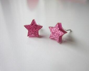 Pink glitter star earrings