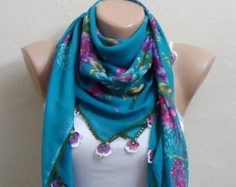 blue scarf  purple flower green pink blue cotton turkish yemeni oya handmade