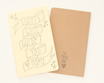 MOLESKINE notebook. Moleskine journal. Hand Illustrated Travel Journal / Notebook. Lights will guide you home. Lemon. Paper gift.