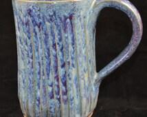 Tall Carved blue purple mug