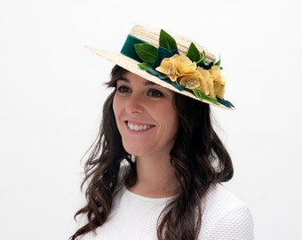 Moireach - Green and moustard straw boater hat, canotier hat with flowers, floral summer hat, women straw hat, wedding guest hat, sun hat