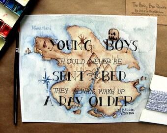 Peter Pan Art/ Children's Art Print/ Neverland- 8x10