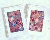 """TWO 4"""" x 6"""" Encaustic Art Abstract Greeting Cards 010."""