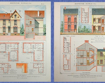 Two Original Antique Architectural Prints from 1901 describe houses, villas, worker's houses, farms, hotels