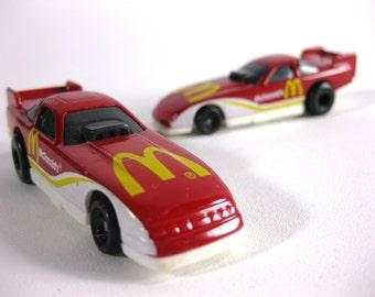 Vintage 1993 McDonald's Die cast Metal Race Car Set ~ McDonalds Restaurant Racecars ~ Made by Mattel