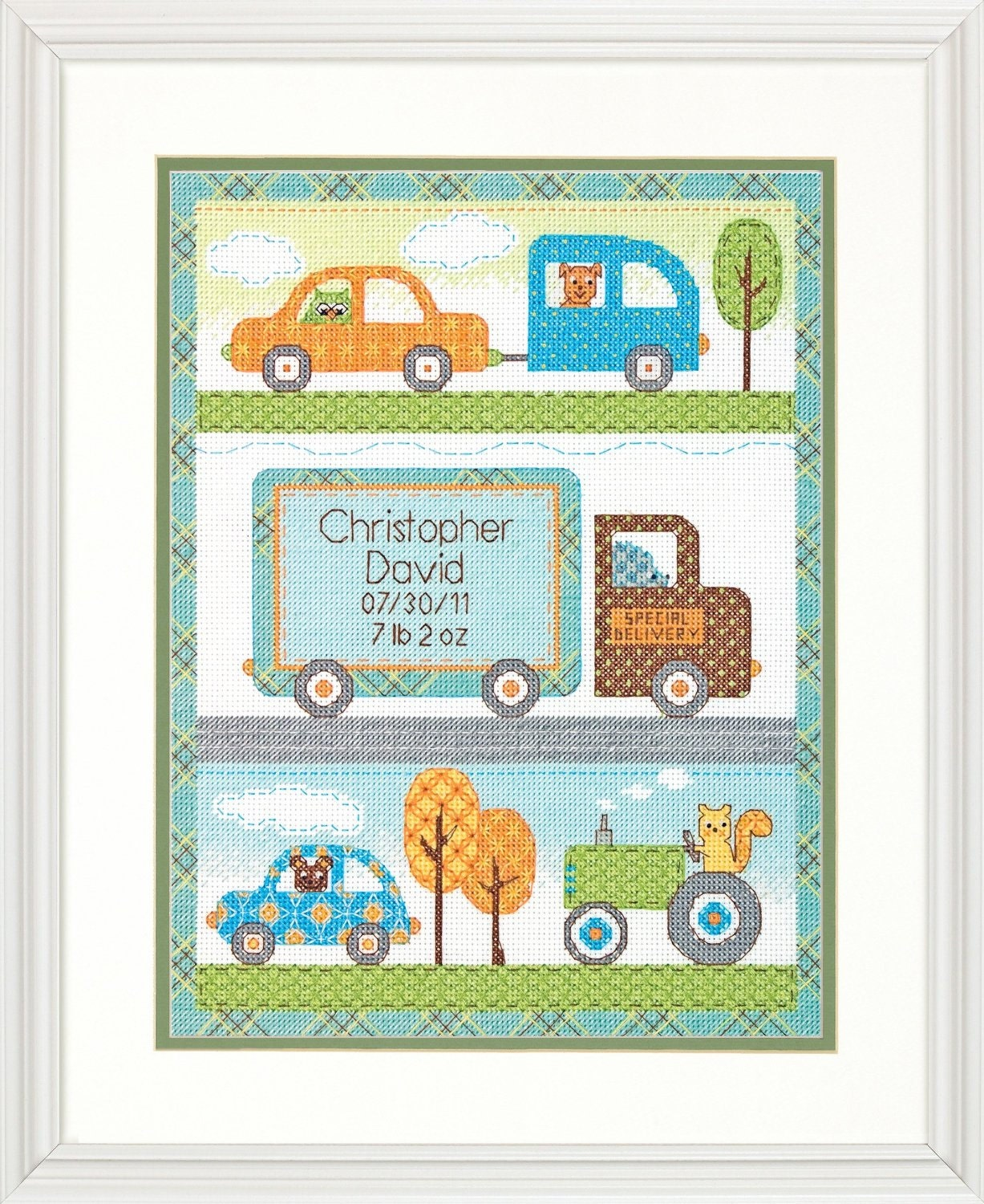 Counted cross stitch kit baby boy birth record dimensions