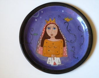 "Sale Item, QUEEN OF HEARTS, Fortune Telling Plate,  10 1/2"" Handmade Plate, Goddess Dish, Princess"