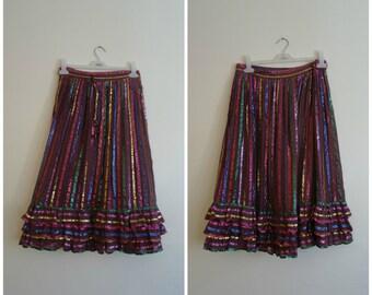 1970s Hippie Striped Skirt Size Medium