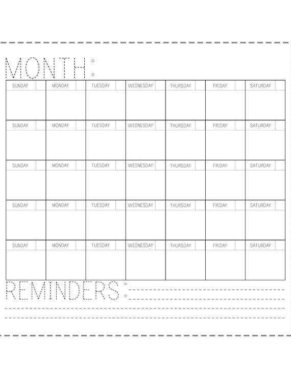 Blank Calendar You Can Type Into : Printable calendar fill in the blank