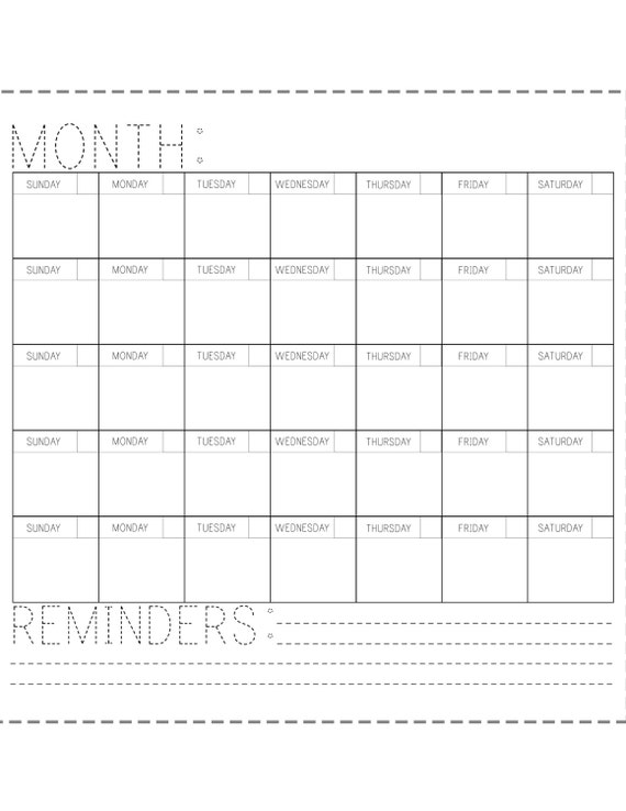 Blank Calendar To Fill In : Printable calendar fill in the blank