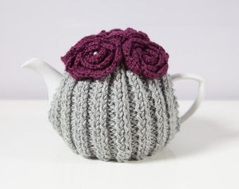 Silver Grey Hand Knit Tea Cozy with Deep Plum Crocheted Flowers.Teapot Cozy. Hand Knit Tea Cozy. Tea-Lovers Gift.