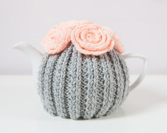 Silver Grey Hand Knit Tea Cozy with Peach Crocheted Flowers.Teapot Cozy. Hand Knit Tea Cozy. Tea-Lovers Gift.