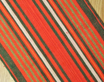Well done Swedish retro vintage 1960s long red/ green/ white handwoven cotton/ linen Christmas tablecloth runner with striped pattern