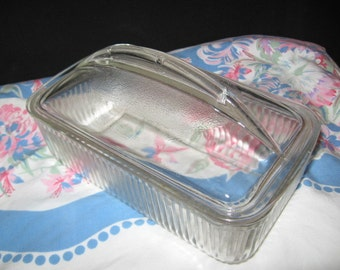 Glass Covered Casserole Dish/1960's Glass Ovenware/Refigerator Glass Dish/Westinghouse Rectangular Glass Covered Dish