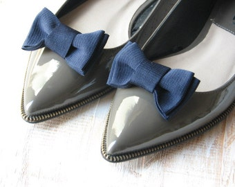 Navy blue shoe clips Something blue Navy blue shoes Navy blue bridesmaids gift Navy blue wedding accessory Navy blue bridal Wedding shoes