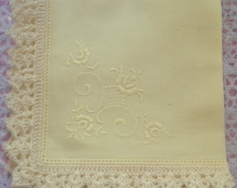 Lemon embroidered handkerchief with hand crocheted edge