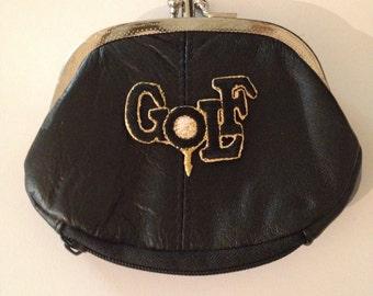 Golf Design Black Leather Change Purse Golf Lovers