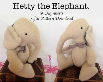 Stuffed Elephant Pattern, Hetty the Elephant - Softie Pattern Suitable for Beginners.  Soft Toy Pattern to Sew.