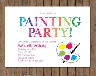 Painting Party Invitation - PRINTABLE - Birthday - Art Party - Rainbow