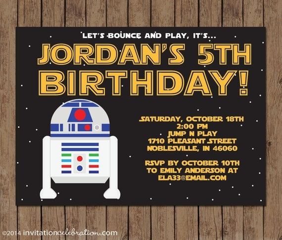 r2d2 star wars birthday invitation choose printable or have, Einladung