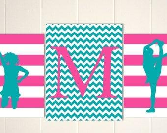 Cheerleader, girls wall art, cheer wall art, dance art, girl monogram print, personalized girls art, set of 3 prints