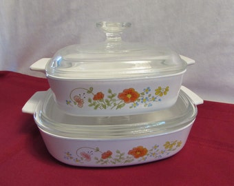 Corning Ware WILDFLOWER CASSEROLE DISHES with Lids Set of 2