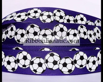 """5 yds 7/8""""   Regal Purple with Black and White Soccer Balls  Grosgrain Ribbon"""