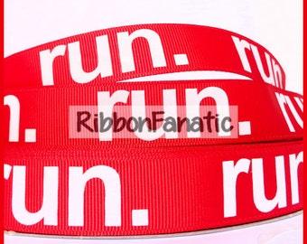 """5 yds 7/8"""" Run on Red Grosgrain Ribbon"""