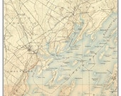 Freeport & Yarmouth 1892 Old Topographic Map USGS  - Custom Composite Reprint Maine