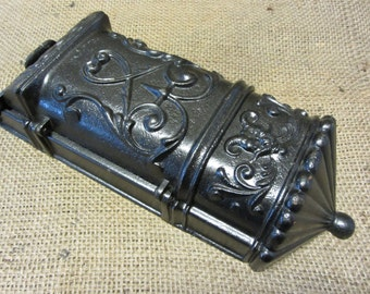 Vintage Cast Iron Mailbox w Ornate Gothic Design - Antique Old Metal Mail Box Aluminum Mailboxes Primitive Shabby 8087