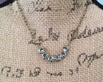 Swarovski black diamond rhinestone necklace ,simple, rhinestone, necklace, crescent, gray, grey, jewelry, bridesmaid gift, gifts for her
