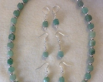 Jade Necklace with 3 Pairs of Earrings for Every Occasion