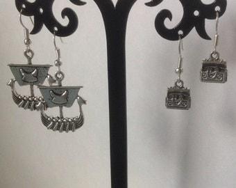 Pirate Ship Earrings or Treasure Chest Earrings on Nickel Free Ear Hooks