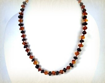 Baltic Amber Baby Teething Necklace Cognac Cherry Rounded Pieces