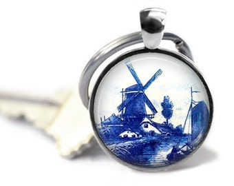 Delft pottery keychain vintage delft blue key ring Holland travel gift Netherlands delftware key chain.