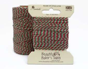 Christmas Baker's Twine - Red, Green and White Packaging String 10m