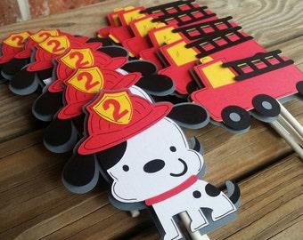Firetruck, Dalmatian Cupcake Toppers