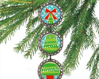 Bottle Cap Christmas Ornament, Christmas Tree Ornament,  Xmas Tree Ornament.