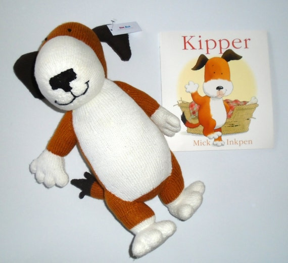 Hand knitted Kipper soft toy with Story Book Teaching
