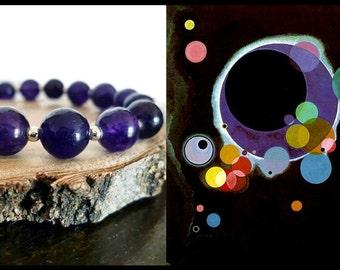 KANDINSKY - Amethyst gemstone bracelet, purple