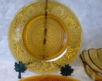 Vintage Amber Indiana Glass Tiara Luncheon Plates