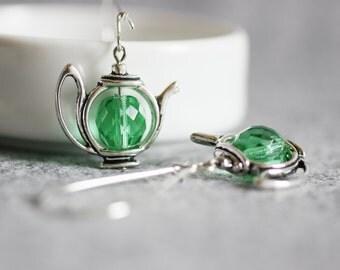Green Tea Earrings, Green Teapot Earrings, Teapot Earrings, Tea pot Earrings,Teapot Jewelry,Teapot,Tea Earrings, Dangle Teapot Earrings