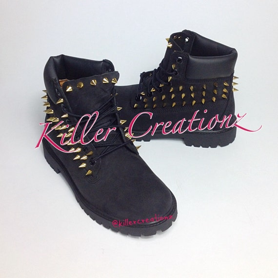 items similar to custom spiked black timberland boots any