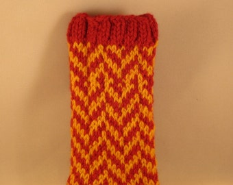 Knit Cell Phone Cozy Red and Goldenrod Herringbone - phone sleeve - knit phone case - ready to ship - FREE SHIPPING USA