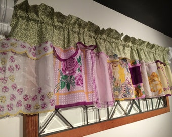 Spectacular Sage and Lovely Lilac Handkerchief Valance / Curtains / Window Treatments