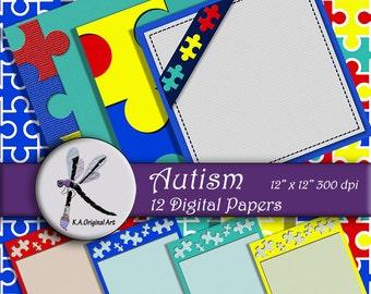 Autism Digital Printable Paper Pack -INSTANT DOWNLOAD- Puzzle Piece Scrapbook Pages