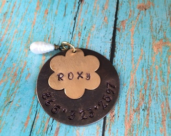 PET ID TAG  Hand Stamped and Made to Order