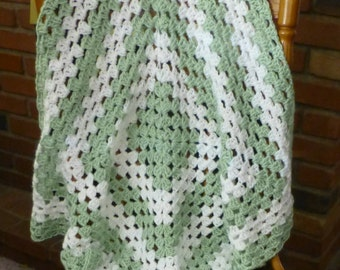 Blanket, Afghan, Baby Blanket Lap Blanket, Green and White,Hand Crocheted, Soft Yarn, Fast Shipping